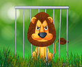 A scary lion inside the cage illustration of face Stock Image