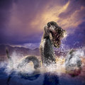 Scary loch ness monster emerging from water photo composite of Royalty Free Stock Photos