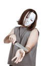 Scary masked man attempting suicide Royalty Free Stock Photo