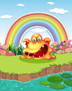 Scary monster atpond and a rainbow in the sky illustration of at pond Stock Photography