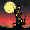 Scary old ghost house. Halloween card or poster. Vector illustration.