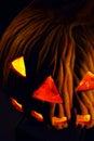 A scary old lantern on black, pumpkin. Royalty Free Stock Photo