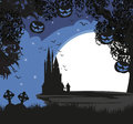 Scary pumpkins and silhouette of haunted house. Royalty Free Stock Photo