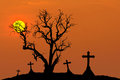 Scary silhouette dead tree and spooky silhouette crosses in mystic graveyard with half moon Royalty Free Stock Photo