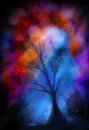 Scary tree on colorful background Royalty Free Stock Images