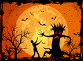 Scary tree halloween background with and fearfulness man illustration Royalty Free Stock Image