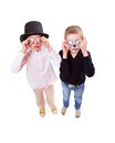 Scary twins photo of two eerie boys frightening people on halloween Royalty Free Stock Photos