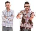 Scary zombie cosplay before and after creepy Royalty Free Stock Image