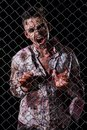 Scary zombie cosplay creepy behind the fence Royalty Free Stock Image