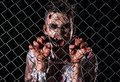 Scary zombie cosplay creepy behind the fence Stock Photo