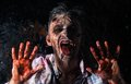 Scary zombie cosplay creepy behind the window Stock Photography
