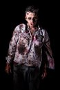 Scary zombie cosplay creepy on a black background Royalty Free Stock Image