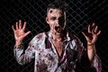 Scary zombie cosplay creepy on the fence background Royalty Free Stock Photos