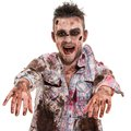 Scary zombie cosplay creepy on a white background Stock Images