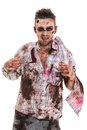 Scary zombie cosplay creepy on a white background Stock Photo