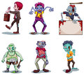 Scary zombies illustration of a on a white background Stock Images