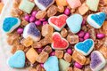 Scattered Candy And Sugar Sweets In The Shape Of Heart, Cute Tasty Jelly Beans