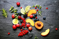 Scattered fresh fruit and berries
