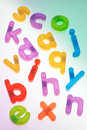 Scattered Fridge Magnets. Letters Stock Photo