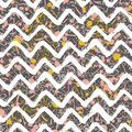 Scattered Geometric Line Shapes. Abstract Background Design. Vector Seamless Pattern. Chevron Zigzag Paint Brush Strokes