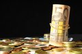 Scattered money some representing different markets financial concept Stock Image