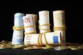 Scattered money some representing different markets financial concept Stock Photo