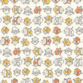 Scattered nerd bird pattern seamless of nerdy birds wearing glasses colors can be easily changed in vector file Royalty Free Stock Images