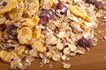 Scattered on the table of muesli wooden Stock Photography
