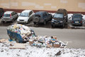 Scattered trash on the car parking moscow apr in one of courtyards of moscow april in moscow russia Royalty Free Stock Photo