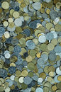 Scattered of Ukrainian money coins Royalty Free Stock Photo