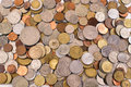 Scattering coins background Royalty Free Stock Photo