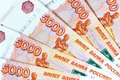 Scattering five thousandth banknotes russia Stock Images