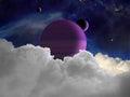 Scena straniera dello spazio di fantasia con i pianeti stranieri Fotografie Stock Libere da Diritti