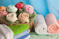 Scene with bath towels in the form of flowers Stock Photography