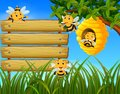 Scene with bees flying around beehive illustration with blank wood