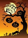 Scene with Halloween tree 2 Royalty Free Stock Photo