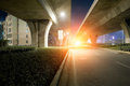 Highway Overpass at dusk Royalty Free Stock Photo