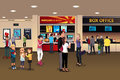 Scene in the movie theater lobby a vector illustration of Royalty Free Stock Images