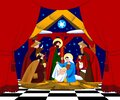 Scene of the Nativity of Christ and Adoration of the Magi in frame of red curtain Royalty Free Stock Photo