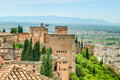 Scene of old fortress in alhambra spain scenic view medieval background blue sky hills and town ancient building surrounded by Stock Images