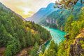 Scene over Diablo lake when sunrise in the early morning in Nort Royalty Free Stock Photo