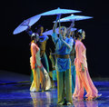 Scene in the rain-The dance drama The legend of the Condor Heroes Royalty Free Stock Photo