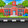 Scene school building and street