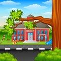 Scene school building and tree branch