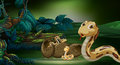 Scene with snakes hatching egg Royalty Free Stock Photo