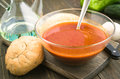Scene vegetarian soup in glass bowl on wood Royalty Free Stock Photo