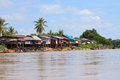 Scene of village beside mekong river in champasak southern of laos file Stock Images