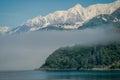 Fog, Sea and Mountains Near Whittier, Alaska Royalty Free Stock Photo
