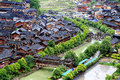 The scene of Xijiang Miao minority village Royalty Free Stock Photo