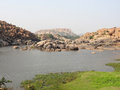 Scenery around hampi a city located in karnataka south west india at evening time Stock Photo